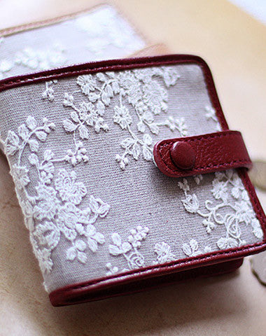 Handmade vintage cute sweet lace leather short bifold wallet for women/lady