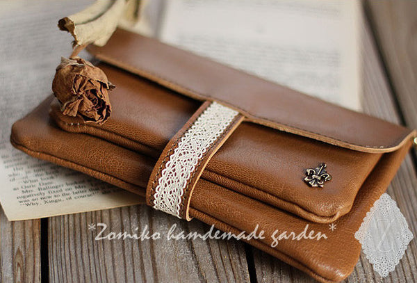 Handmade vintage rustic pretty brown lace leather long bifold wallet for women/lady girl