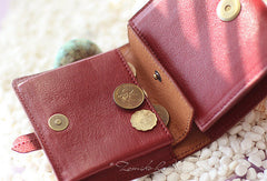 Handmade vintage custom sweet cute leather short trifold wallet for women/lady
