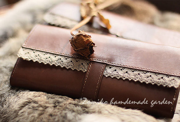 Handmade vintage sweet cute coffee lace leather long bifold wallet for women/lady