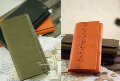 Handmade vintage womens leather long wallets Long bifold wallet for women