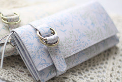 Handmade vintage sweet cute orchid leather long bifold wallet for women/lady