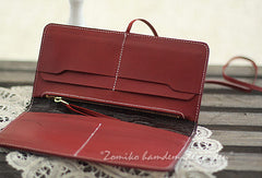 Handmade red vintage sweet cute flower leather long bifold wallet for women/lady