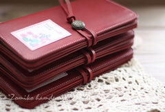 Handmade vintage red sweet cute retro leather long bifold wallet for women/lady