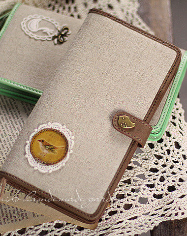 Handmade vintage rustic sweet cute fabric leather long bifold wallet for women/lady girl