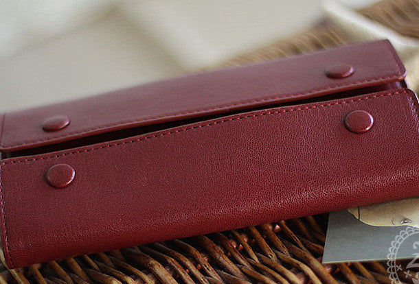 Handmade fashion red purple orange leather long iphone bifold wallet for women/lady girl