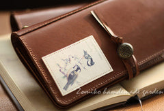 Handmade vintage rustic sweet stamp leather long bifold wallet for women/lady girl