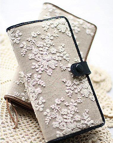 Handmade vintage rustic sweet lace leather long bifold wallet for women/lady girl