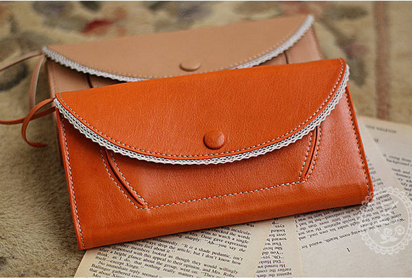Handmade vintage sweet cute lace leather long bifold wallet for women/lady