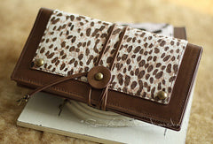 Handmade vintage leopard print cilice leather long bifold wallet for women/lady