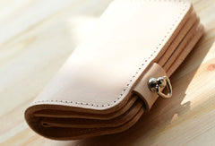 Handmade leather beige short biker wallet chain short wallet purse clutch for men