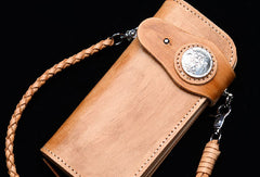 Handmade vintage tan men biker wallet chain leather Long wallet purse clutch for men