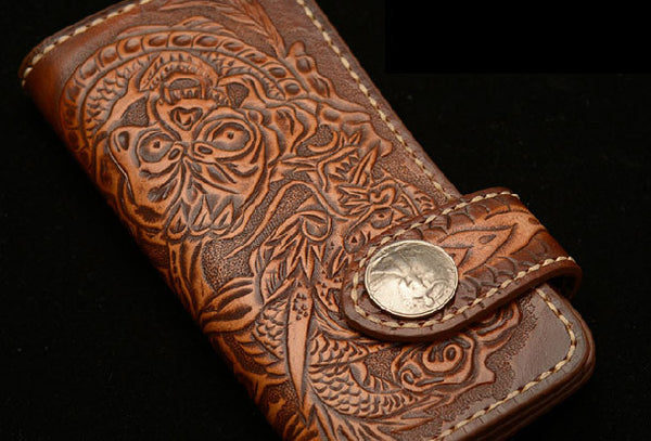 Handmade coffee leather Skull dragon carved biker wallet bifold Long wallet for men