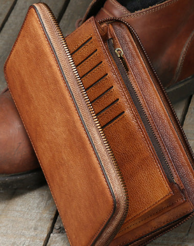 Handmade long wallet leather men phone zip clutch vintage wallet for men