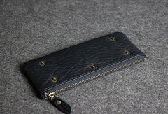 Handmade leather men clutch black vintage zip multi cards long wallet purse clutch