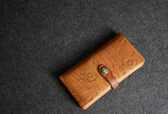 Handmade leather men wallet clutch brown vintage clutch men long wallet purse clutch