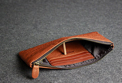 Handmade leather men wallet clutch brown vintage zip men long wallet purse clutch