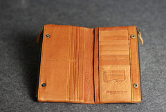Handmade leather men clutch brown vintage zip clutch men long wallet purse clutch