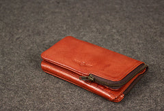 Leather men trifold long wallet clutch brown vintage zip clutch men long wallet purse