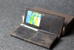 Handmade leather men clutch long wallet vintage clutch long wallet purse clutch