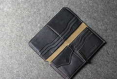 Leather men long wallet coffee brown black vintage phone clutch men purse clutch