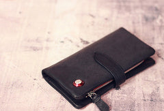 Leather men long wallet clutch black vintage zip phone clutch men purse clutch