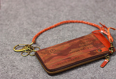 Leather men long wallet chain clutch camouflage vintage zip clutch men purse clutch