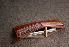 Leather men long wallet clutch brown strip phone vintage clutch men purse clutch