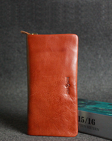 Leather men long wallet clutch brown vintage zip clutch men long wallet purse
