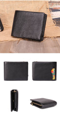 Vintage Brown Trifold Leather Men's Small Wallet RFID Black Short Wallet For Men