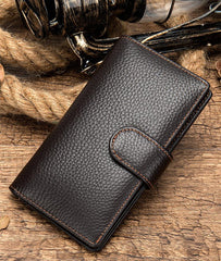 Black Leather Men's Wallet Trifold Long Wallet Multi Cards Long Wallet For Men