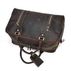 Casual Brown Leather Men's Overnight Bag Travel Bag Luggage Weekender Bag For Men