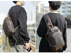 Vintage Brown Leather Men's One Shoulder Backpack Chest Bag Sling Crossbody Pack For Men