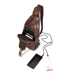Cool Leather Brown Men's Sling Bag Chest Bag One Shoulder Backpack For Men