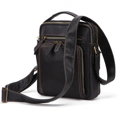 Fashion Black Leather Men's Tablet Shoulder Bag Small Vertical Side Bag Messenger Bag For Men