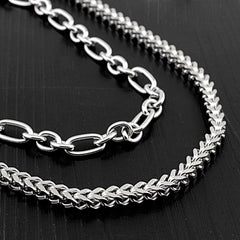 Badass Stainless Steel Mens Double Wallet Chain Long Silver Biker Wallet Chain For Men