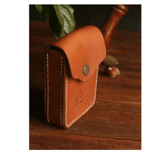 Handmade Brown Leather Mens Cigarette Case Cool Cigarette Holder with Belt Loop for Men