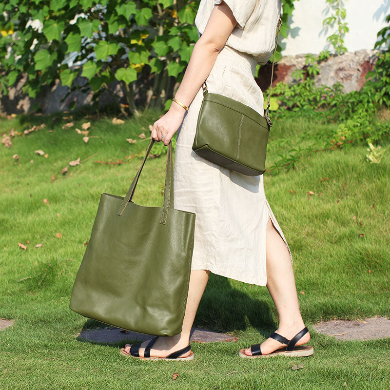 01d3751d91a Previous. Next.  239.00 239.00. Overview  Design  Stylish Green Leather  Large Tote Bag ...