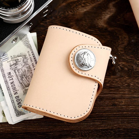 Handmade Leather Small Biker Chain Wallet Mens Cool billfold Chain Wallet