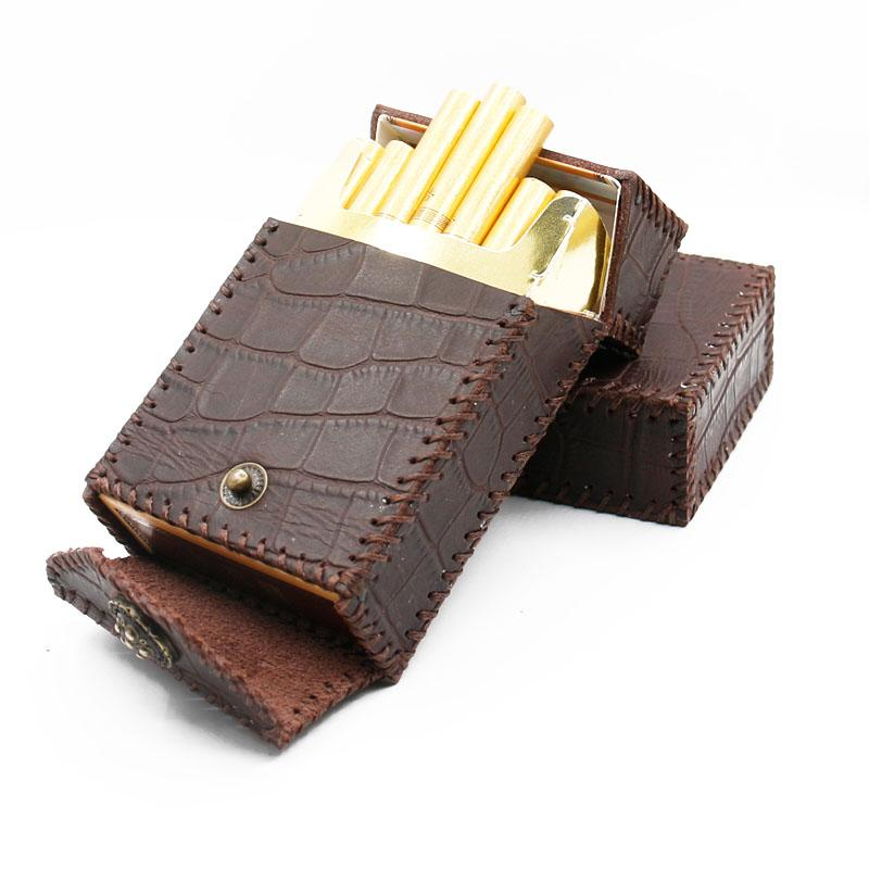 Cool Handmade Leather Mens Engraved Coffee Cigarette Holder Case for Men