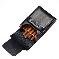 Cool Wooden Leather Mens Cigarette Case Black Custom Cigarette Holder for Men