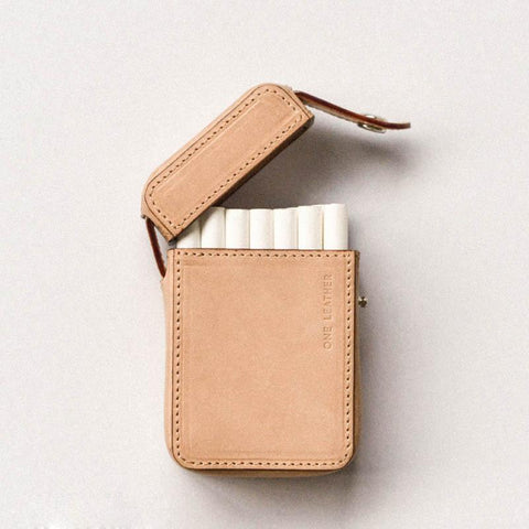 Cool Brown Leather Mens 20pcs Cigarette Holder Case Cool Custom Cigarette Case for Men