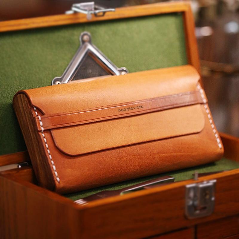 Cool Wooden Brown Leather Mens Long Wallet Brown Long Wallet for Men