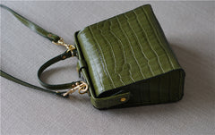 Handmade Womens Stylish Square Dark Green Leather Doctor Handbag Side Purse Doctor Purse for Women