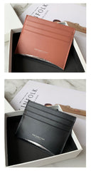 Women Orange Leather Card Holders Small Card Wallet Minimalist Credit Card Holder For Women
