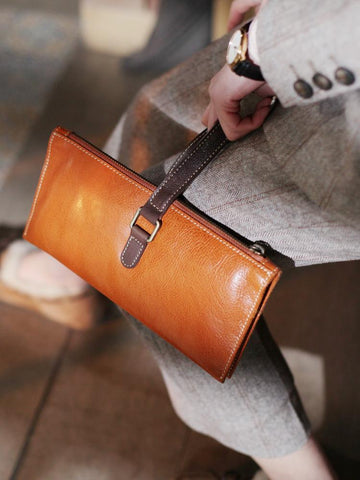 Fashion Womens Brown Leather Unusual Handbags Soft Tan Leather Handbag Folded Clutch Purse