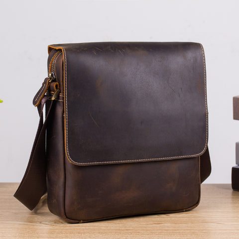 Leather Mens Brown Cool Messenger Bag Vintage Shoulder Bags For Men