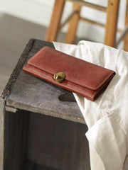 Vintage Womens Best Brown Leather Long Wallet Checkbook Wallet Cards Holder Wallet Purse for Ladies