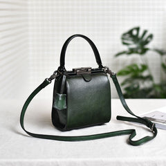 Womens Brown Leather Doctor Handbag Purses Square Doctor Crossbody Purse for Women
