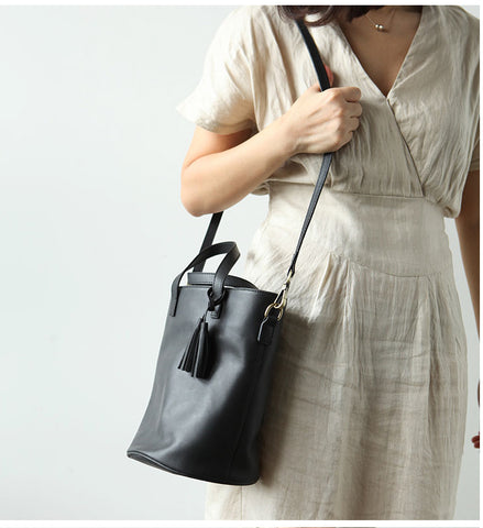 Stylish LEATHER WOMEN Large Bucket Handbag Barrel SHOULDER BAG Crossbody Purse FOR WOMEN